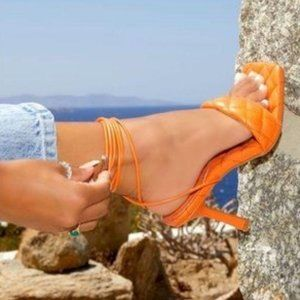 Lace Up Quilted Square Toe Heels in Orange